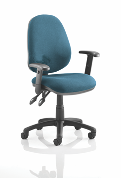 Picture of Office Chair Company Luna II Lever Task Operator Chair Bespoke With Height Adjustable Arms In Kingfisher
