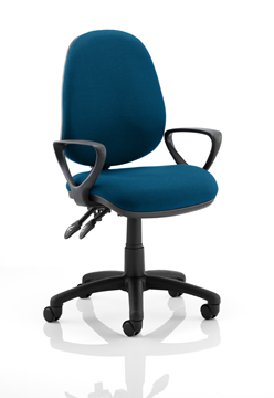 Picture of Office Chair Company Luna II Lever Task Operator Chair Bespoke With Loop Arms In Kingfisher