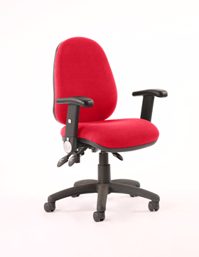 Picture of Office Chair Company Luna III Lever Task Operator Chair Bespoke With Height Adjustable And Folding Arms In Cherry