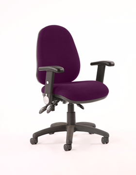 Picture of Office Chair Company Luna III Lever Task Operator Chair Bespoke With Height Adjustable And Folding Arms In Purple