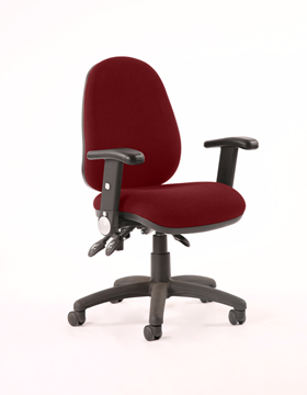 Picture of Office Chair Company Luna III Lever Task Operator Chair Bespoke With Height Adjustable And Folding Arms In Chilli