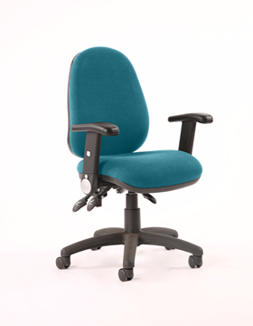 Picture of Office Chair Company Luna III Lever Task Operator Chair Bespoke With Height Adjustable And Folding Arms In Kingfisher