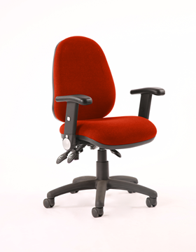 Picture of Office Chair Company Luna III Lever Task Operator Chair Bespoke With Height Adjustable Arms In Pimento