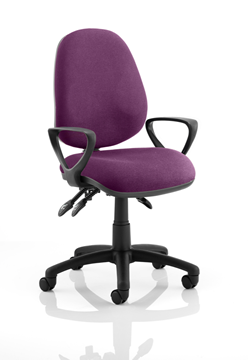 Picture of Office Chair Company Luna III Lever Task Operator Chair Bespoke With Loop Arms In Purple