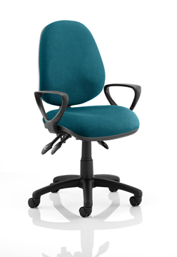 Picture of Office Chair Company Luna III Lever Task Operator Chair Bespoke With Loop Arms In Kingfisher