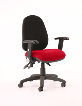 Picture of Office Chair Company Luna III Lever Task Operator Chair Black Back Bespoke Seat With Height Adjustable And Folding Arms In Cherry