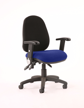 Picture of Office Chair Company Luna III Lever Task Operator Chair Black Back Bespoke Seat With Height Adjustable And Folding Arms In Serene