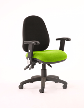 Picture of Office Chair Company Luna III Lever Task Operator Chair Black Back Bespoke Seat With Height Adjustable And Folding Arms In Swizzle
