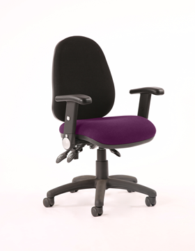 Picture of Office Chair Company Luna III Lever Task Operator Chair Black Back Bespoke Seat With Height Adjustable And Folding Arms In Purple