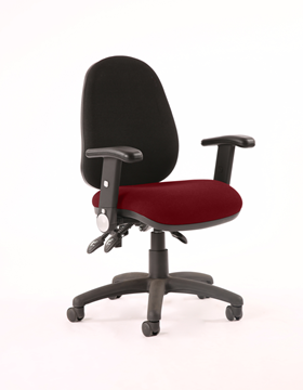 Picture of Office Chair Company Luna III Lever Task Operator Chair Black Back Bespoke Seat With Height Adjustable And Folding Arms In Chilli