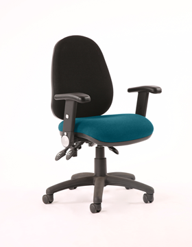 Picture of Office Chair Company Luna III Lever Task Operator Chair Black Back Bespoke Seat With Height Adjustable And Folding Arms In Kingfisher