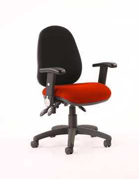 Picture of Office Chair Company Luna III Lever Task Operator Chair Black Back Bespoke Seat With Height Adjustable And Folding Arms In Pimento