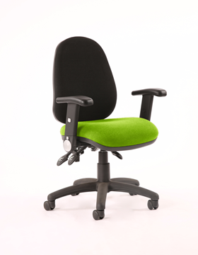 Picture of Office Chair Company Luna III Lever Task Operator Chair Black Back Bespoke Seat With Height Adjustable Arms In Swizzle