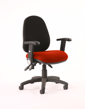 Picture of Office Chair Company Luna III Lever Task Operator Chair Black Back Bespoke Seat With Height Adjustable Arms In Pimento