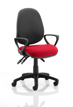 Picture of Office Chair Company Luna III Lever Task Operator Chair Black Back Bespoke Seat With Loop Arms In Cherry