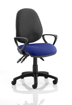 Picture of Office Chair Company Luna III Lever Task Operator Chair Black Back Bespoke Seat With Loop Arms In Serene
