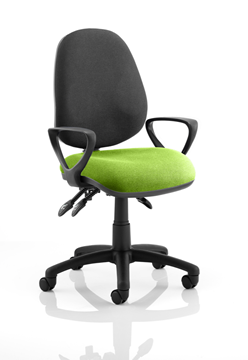 Picture of Office Chair Company Luna III Lever Task Operator Chair Black Back Bespoke Seat With Loop Arms In Swizzle