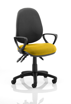 Picture of Office Chair Company Luna III Lever Task Operator Chair Black Back Bespoke Seat With Loop Arms In Sunset