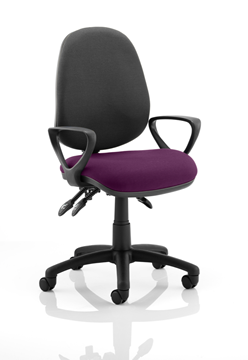 Picture of Office Chair Company Luna III Lever Task Operator Chair Black Back Bespoke Seat With Loop Arms In Purple