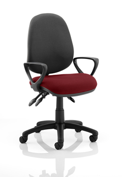 Picture of Office Chair Company Luna III Lever Task Operator Chair Black Back Bespoke Seat With Loop Arms In Chilli
