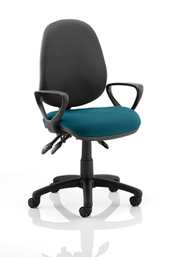 Picture of Office Chair Company Luna III Lever Task Operator Chair Black Back Bespoke Seat With Loop Arms In Kingfisher
