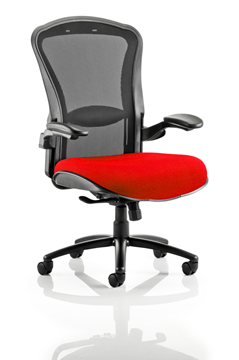 Picture of Office Chair Company Houston Black Mesh Back Bespoke Seat In Cherry