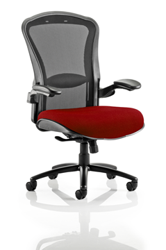 Picture of Office Chair Company Houston Black Mesh Back Bespoke Seat In Chilli