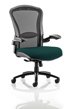 Picture of Office Chair Company Houston Black Mesh Back Bespoke Seat In Kingfisher