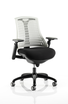 Picture of Office Chair Company Flex Task Operator Chair Black Frame With Black Fabric Seat Moonstone White Back With Arms