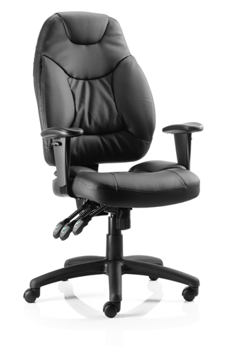 Picture of Office Chair Company Galaxy Task Operator Chair Black Leather With Arms