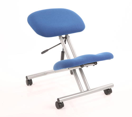 Picture of Office Chair Company Kneeling Stool Task Operator Blue Fabric Silver Frame