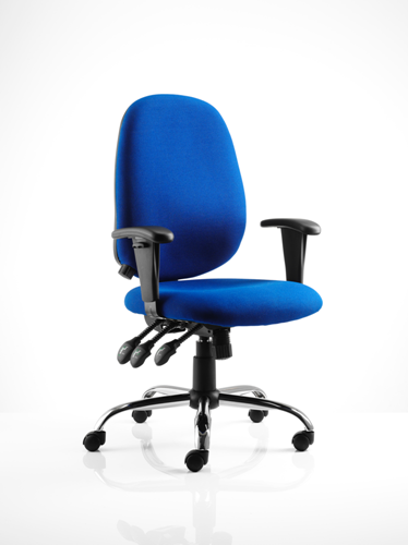Picture of Office Chair Company Lisbon Task Operator Chair Blue Fabric With Arms