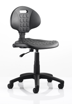 Picture of Office Chair Company Malaga Task Wipe Clean Operator Chair Black Polyurethane Seat And Back Without Arms