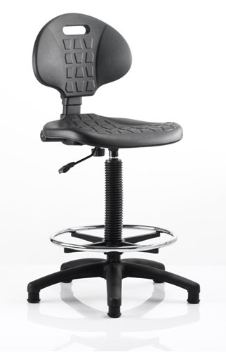 Picture of Office Chair Company Malaga Draughtsman Task Operator Chair Black Polyurethane Seat And Back Without Arms