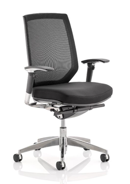 Picture of Office Chair Company Midas Task Operator Chair Black Fabric Black Mesh Back With Arms
