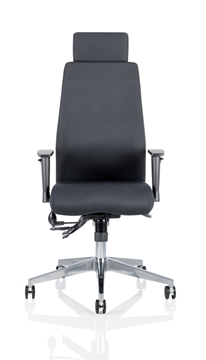 Picture of Office Chair Company Onyx Ergo Posture Chair Black Fabric With Headrest With Arms