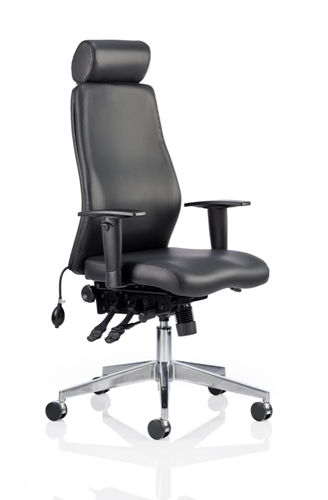 Picture of Office Chair Company Onyx Ergo Posture Chair Black Bonded Leather With Headrest With Arms