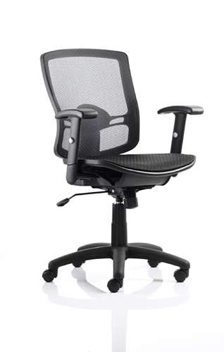 Picture of Office Chair Company Palma Task Operator Chair Black Mesh Back Black With Arms