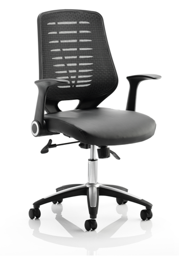 Picture of Office Chair Company Relay Task Operator Chair Leather Seat Black Back With Arms