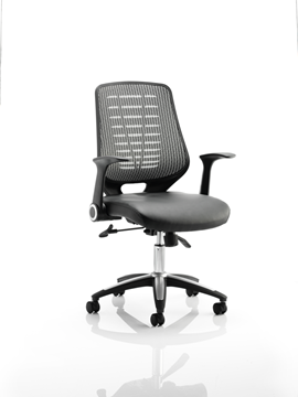 Picture of Office Chair Company Relay Task Operator Chair Leather Seat Silver Back With Arms
