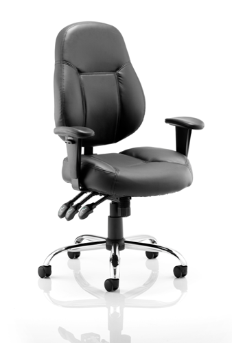 Picture of Office Chair Company Storm Task Operator Chair Black Bonded Leather With Arms