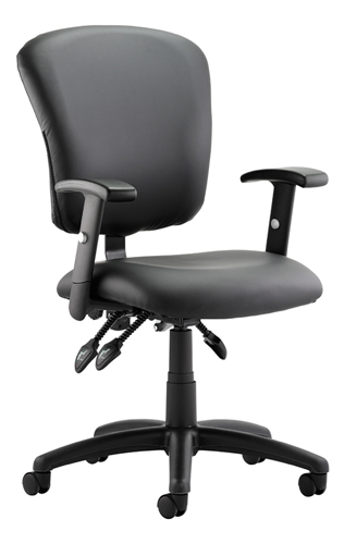 Picture of Office Chair Company Toledo Task Operator Chair Black Leather With Arms