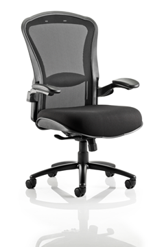Picture of Office Chair Company Houston Task Operator Chair Mesh Back Black Fabric Seat With Arms
