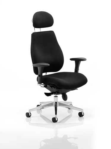 Picture of Office Chair Company Chiro Plus Ergo Posture Chair Black With Arms With Headrest