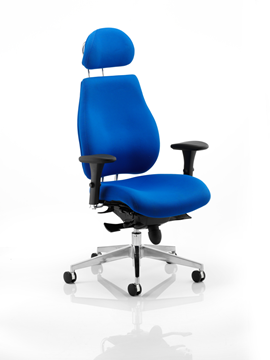 Picture of Office Chair Company Chiro Plus Ergo Posture Chair Blue With Arms With Headrest