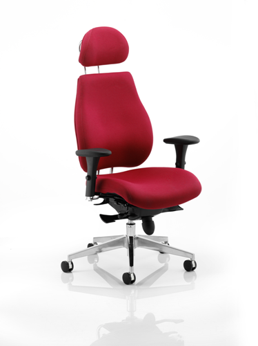 Picture of Office Chair Company Chiro Plus Ergo Posture Chair Wine With Arms With Headrest