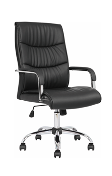 Picture of Office Chair Company Carter Black Luxury Faux Leather Chair With Arms