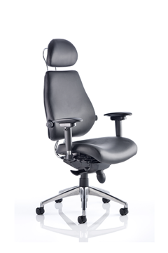 Picture of Office Chair Company Chiro Plus Ultimate Black Leather With Arms With Headrest