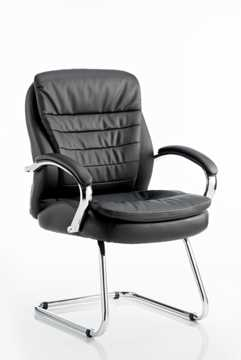 Picture of Office Chair Company Rocky Visitor Cantilever Chair Black Leather High Back With Arms
