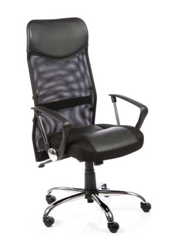 Picture of Office Chair Company Vegas Executive Chair Black Leather Seat Black  Mesh Back With Leather Headrest With Arms